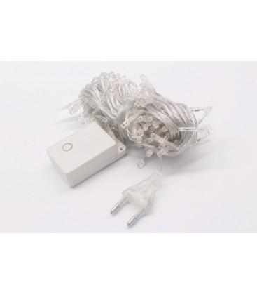 Гирлянда 100LED белый цвет свечения, прозрачный провод 8м