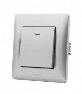 VIDEX BINERA Выключатель 1кл с подсветкой серебряный шёлк