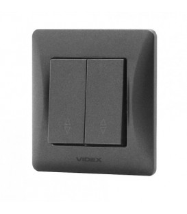 VIDEX BINERA Выключатель черный графит 2кл проходной