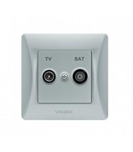 VIDEX BINERA Розетка TV+SAT конечная серебряный шёлк