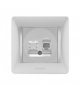 VIDEX BINERA Розетка CAT3 одинарная телефонная серебряный шёлк