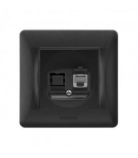 VIDEX BINERA Розетка черный графит CAT3 одинарная телефонная