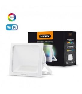 Светодиодный smart прожектор VIDEX 10W RGB Wi-fi 3000-6500 220V Белый