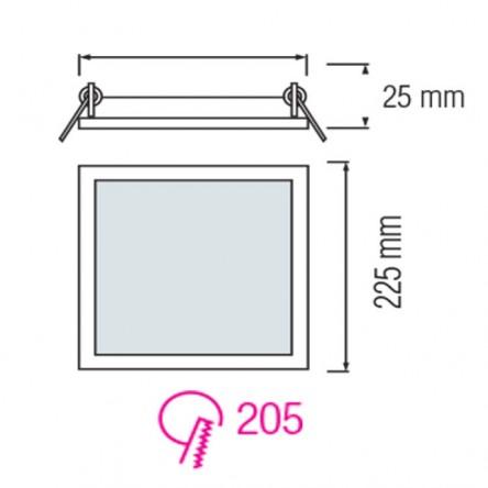 Cветодиодный светильник встраиваемый квадрат Horoz 18W