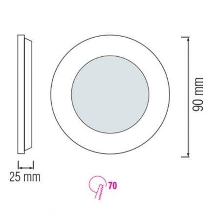 Cветодиодный светильник встраиваемый круг Horoz 3W
