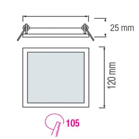 Cветодиодный светильник встраиваемый квадрат Horoz 6W