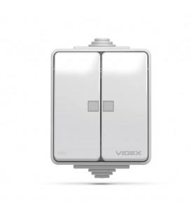 VIDEX BINERA IP65 Выключатель внешний двухклавишный серый
