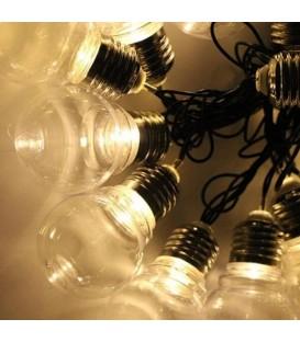 Лампочки 40мм, 12 LED, 5м+ переходник, белый теплый