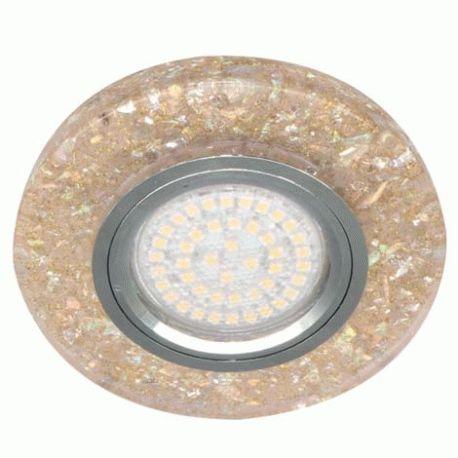 Точечный светильник Feron 8585-2 MR16 мерцающий желтый серебро с led подсветкой 3W 4000K