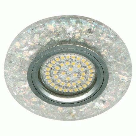Точечный светильник Feron 8585-2 MR16 мерцающий белый серебро с led подсветкой 3W 4000K
