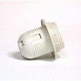 Более Патрон Е27 пластиковый / резьба+кольцо / белый