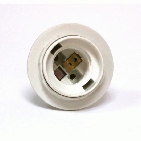 Патрон Е27 пластиковый / резьба+кольцо / белый