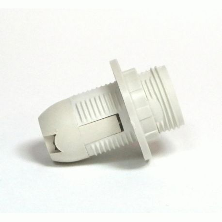 Патрон Е14 пластиковый / резьба+кольцо / белый