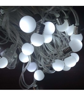 Гирлянда ЛАМПОЧКИ 40LED диаметр 1,5см длина 6,5м теплый белый свет