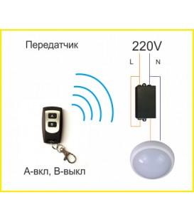 Радиореле 1 канал + пульт ДУ (черный корпус)