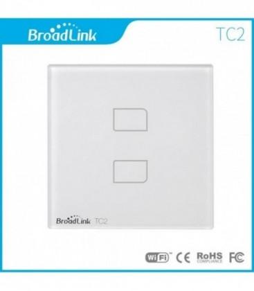 Умный выключатель 2 сенсора, Broadlink, белый, стекло (TC2-2)