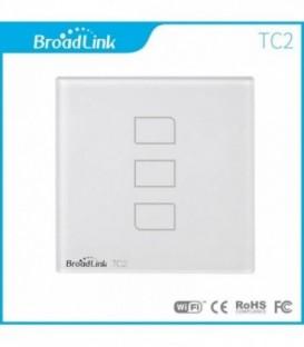 Умный выключатель 3 сенсора, Broadlink, белый, стекло (TC2-3)